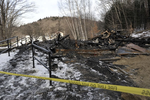 Aftermath of the Congregational Church fire in West Cummington, Mass.: charred ruins of             the church, ca. January 24, 2010