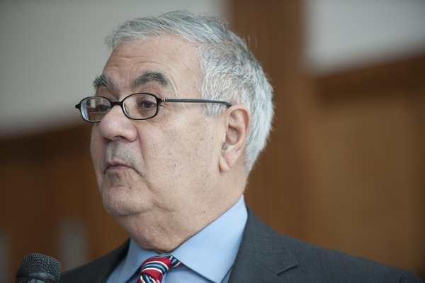 Close-up of Congressman Barney Frank at UMass Amherst, ca. February 16, 2010