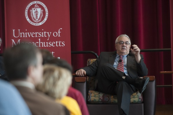 View from the audience of Congressman Barney Frank seated on the Student Union Ballroom stage, UMass Amherst, during his book event, ca. February 16, 2010