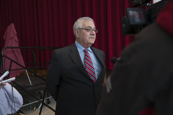 Congressman Barney Frank being interviewed on television at the Student Union Ballroom stage, UMass Amherst, during his book event, ca. February 16, 2010