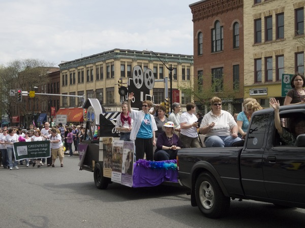 'Out for Reel' crew in their float during the Pride Parade; Main Street, Northampton, Mass., ca. May 7, 2011