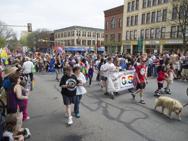Marchers during the Pride Parade; Main Street, Northampton, Mass., ca. May 7, 2011