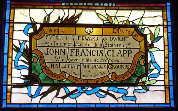Clapp Memorial Library: interior view of stained glass window (detail), ca. August 16, 2017