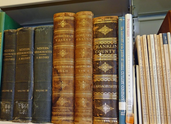 Buckland Public Library: close-up of antiquarian books, ca. October 7, 2016