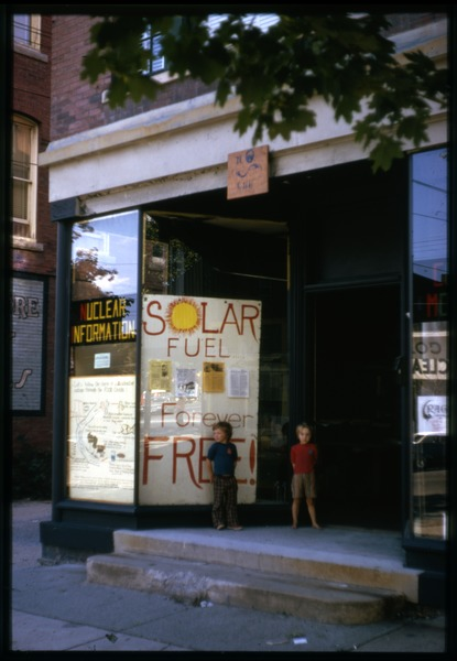 Storefront for nuclear information and solar fuel, ca. 1975