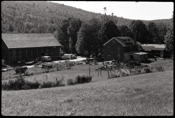 View of Montague Farm house and barn from the fields above, ca. 1980