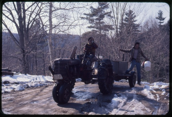 Tony Mathews (driving a tractor) and Al during sugaring, Montague Farm Commune, ca. May 1977