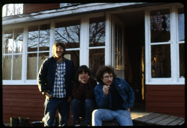 Harvey Wasserman, Terry Carter, and Charles Light on the front porch, Montague Farm Commune, ca. May 1978