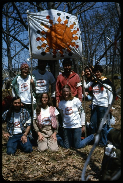 My affinity group, 'The Spiderworts': Occupation of the Seabrook Nuclear Power Plant: Occupiers with banner, all wearing t-shirts reading 'Better active than radioactive': , ca. May 1, 1977