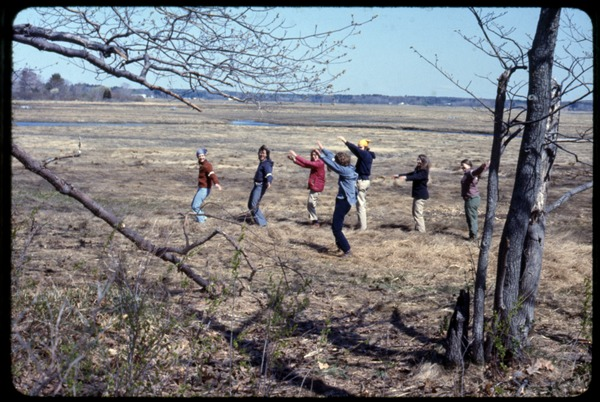 Exercising at camp: Occupation of the Seabrook Nuclear Power Plant: Occupiers doing calisthenics in an open field: , ca. May 1, 1977