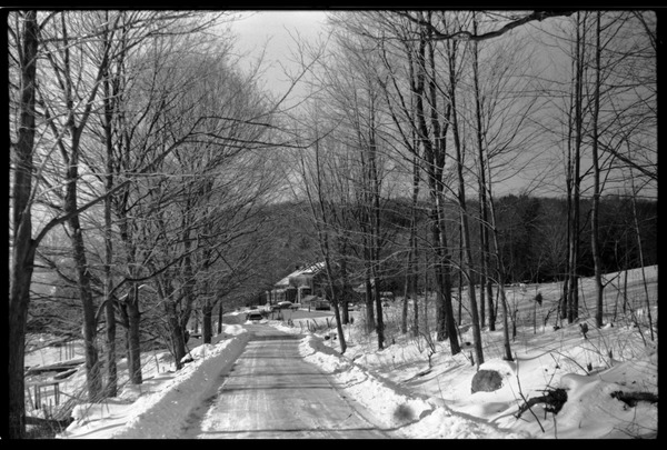 Chestnut Hill Road under snow, on the way to Montague Farm commune, ca. 1974