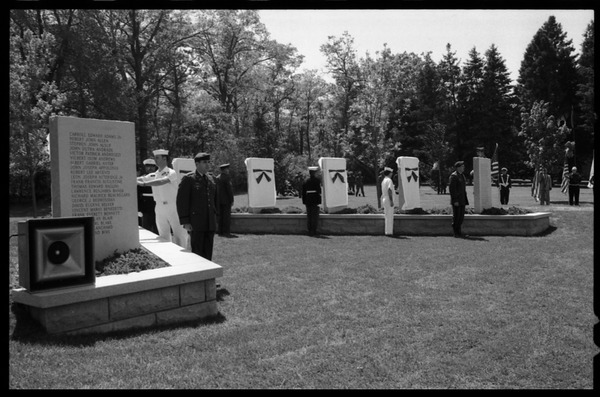 Service members by the memorials at the dedication ceremonies for the Rhode Island Vietnam             Veterans Memorial, May 27, 1986