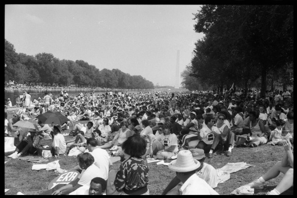 View of the crowd on the National Mall, 25th Anniversary of the March on Washington, August 27, 1988