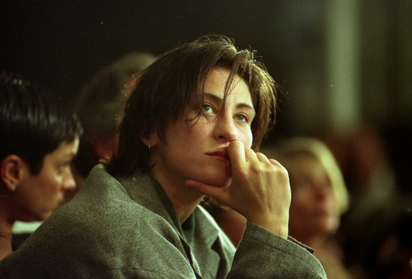 K.D. Lang watching the show, New York City Fashion Week, ca. 1993