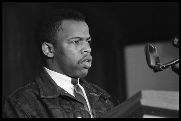 John Lewis speaking at the Youth, Non-Violence, and Social Change             conference, Howard University: View of Lewis at the podium: , November 5, 1963