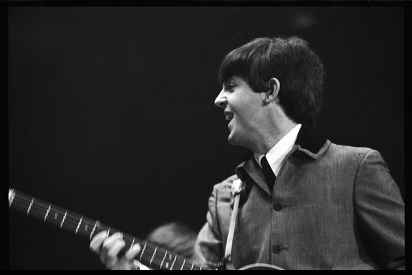 Paul McCartney on bass, in concert with the Beatles, Washington Coliseum, February 11, 1964