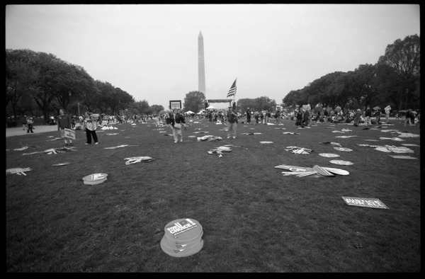 Signs from the March for Women's Lives scattered across the National Mall, with the Washington Monument in the             background, April 25, 2004