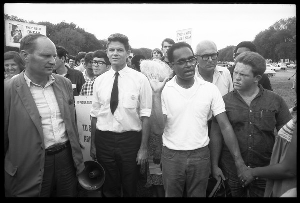 David Dellinger, Staughton Lynd, and Robert Parris Moses (left to right) at front of             march: Assembly of Unrepresented People peace march on Washington, August 6, 1965