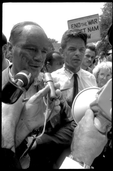 David Dellinger and Staughton Lynd after the Assembly of Unrepresented People peace march was             attacked with red paint by right wing counterprotesters, August 6, 1965