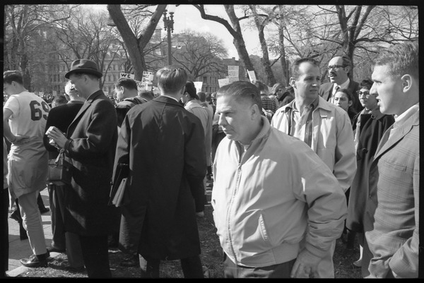 Counter-protesters watching the anti-Vietnam War demonstration: Washington Vietnam March for Peace, November 27, 1965