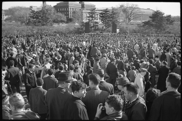 Large crowd of antiwar protesters near the Washington Monument: Washington Vietnam March for Peace, November 27, 1965