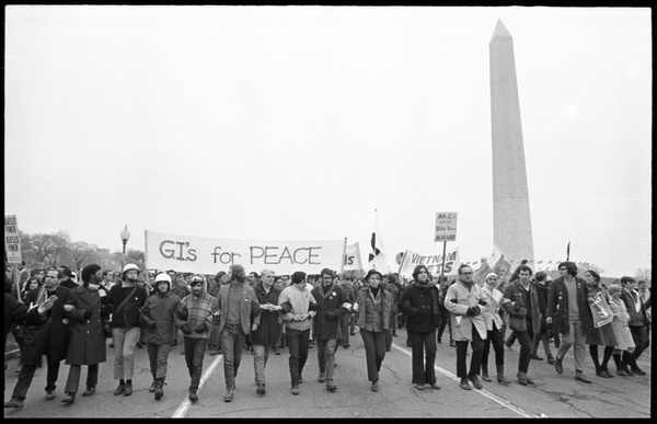 G.I.s for Peace march against the Vietnam War, the Washington Monument in the             background: Counter-inaugural demonstrations, 1969, ca. 1968