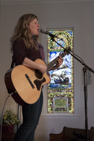 Dar Williams, at sound check at the First Congregational Church in Wellfleet, March 23, 2014