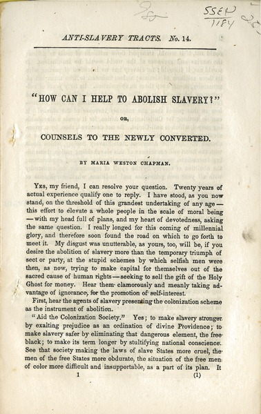 ' How can I help abolish slavery?': or, Counsels to the newly converted: , 1855