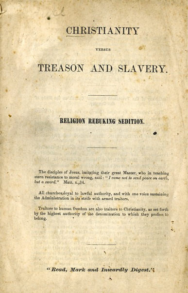 Christianity versus treason and slavery: Religion rebuking sedition: , 1864
