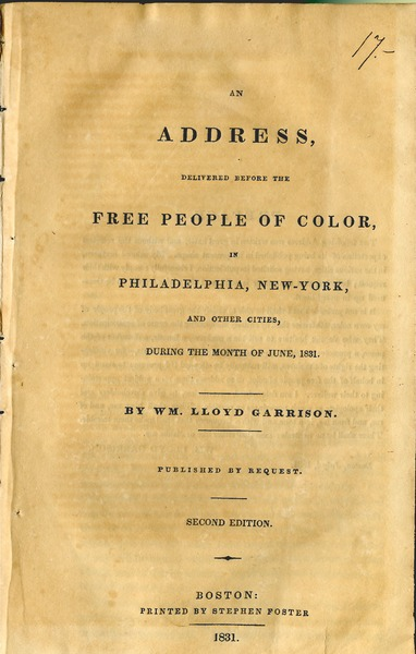 An  address, delivered before the free people of color, in Philadelphia, New-York, and other cities, during the month of June, 1831, 1831