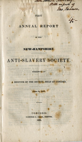 Annual report of the New-Hampshire Anti-slavery Society, 1835