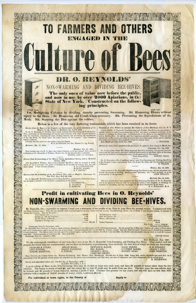 To farmers and others engaged in the culture of bees: Dr. O. Reynolds' non-swarming and dividing bee-hives : the only ones of value             now before the public, and now in use by over 2000 apiarians, in the state of New York: , 1846