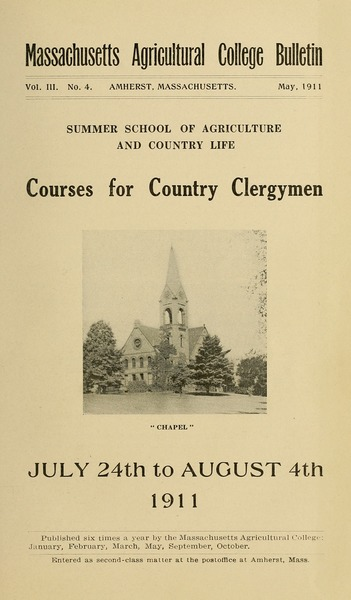 Courses of study for country clergymen, July 24th to August 4, 1911: Summer             School of Agriculture and Country Life, May 1911