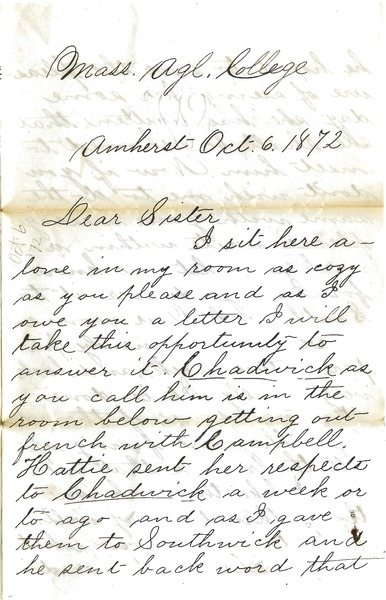 Letter from William Penn Brooks to Rebecca Brooks, October 6, 1872