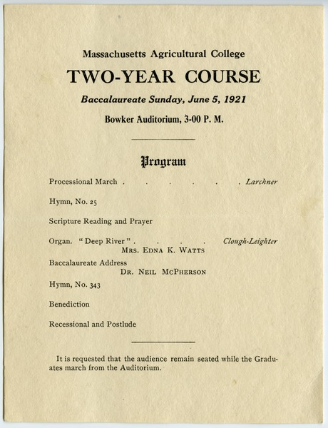 Two-year course Baccalaureate Sunday, June 5, 1921, June 5, 1921