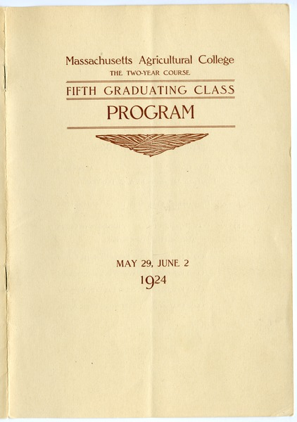 Fifth graduating class: Program, May 29, 1924–June 2, 1924