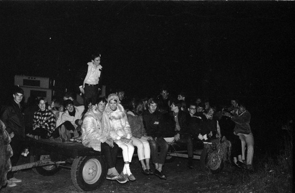 Recreation committee hayride at Robin's Farm in Belchertown, students on haywagon, ca. October 11, 1967