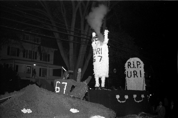 Homecoming Parade (versus the University of Rhode Island): Laser the Rams -- Webster House float: , ca. October 20, 1967