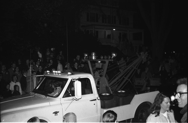 Homecoming Parade (versus the University of Rhode Island): Two truck at the end of the parade -- 'Tow the Rams': , ca. October 20, 1967