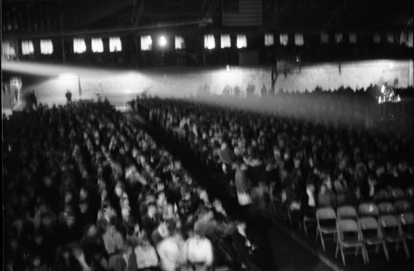 Homecoming concert audience, Curry Hicks Cage: View over packed house: , ca. October 31, 1967