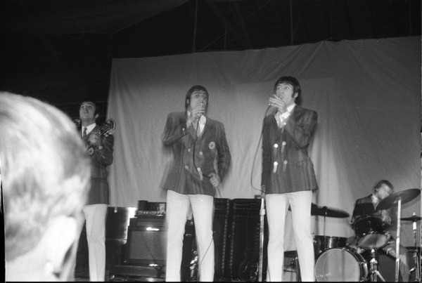 Homecoming concert, Curry Hicks Cage: The Happenings on stage: Bernie Laporta, Tom Giuliano, Bob Miranda, Mike             Laneve (l. to r.): , ca. October 31, 1967