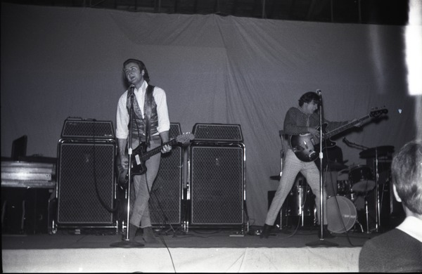 Homecoming concert, Curry Hicks Cage: The Boys from New York City on stage: Don Sallah (guitar) and Ray Martinez             (bass): , ca. October 31, 1967