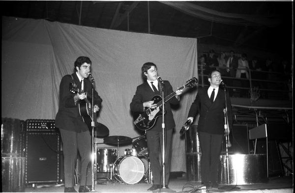 Homecoming concert, Curry Hicks Cage: The Good Earth on stage, close-up: , ca. October 31, 1967