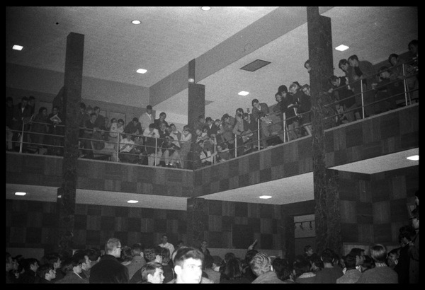 Sit-in protesting Dow Chemical Co. and the war in Vietnam, Student Union, UMass Amherst: Students packed inside the lobby of the Student Union: , ca. February 14, 1968