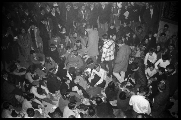 Protest against Dow Chemical Co. and the war in Vietnam at the Student Union, UMass Amherst: View of the crowd: , ca. February 15, 1968