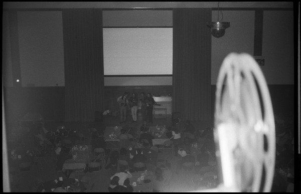 Fabulous Farquahr performing at the Bonnie and Clyde Nightclub, Student Union Ballroom, UMass Amherst: Shot from the back of the room: , ca. March 16, 1968