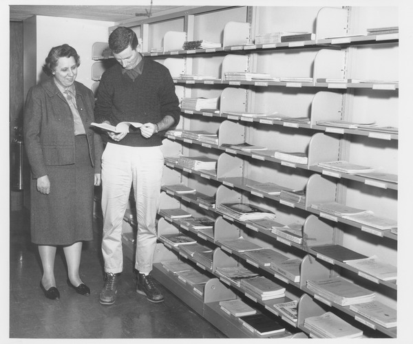 Pauline Collins in new Hampshire Inter-Library Center (HILC) location in Goodell addition, 1961