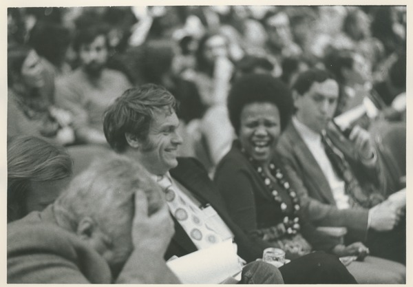 Dwight W. Allen with a crowd, ca. 1970