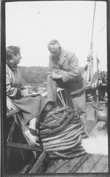 Fred Coleman Sears on boat with unidentified woman, ca. 1934
