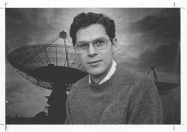 Joseph H. Taylor, UMass Amherst Professor of Physics and Astronomy, in front of a giant radio telescope, ca. 1970